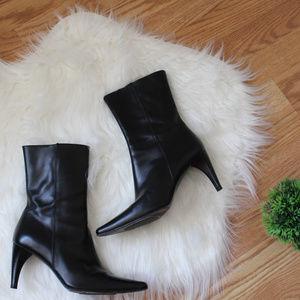 Banana Republic Italy Leather Black Heel Boots 7.5